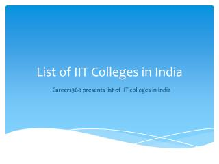 List of IITs in India
