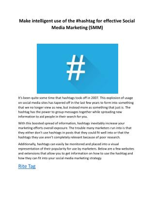 Make intelligent use of the #hashtag for effective Social Media Marketing (SMM)