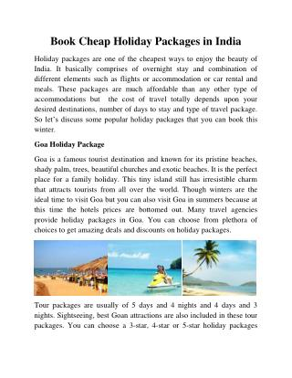 Book Cheap Holiday Packages in India