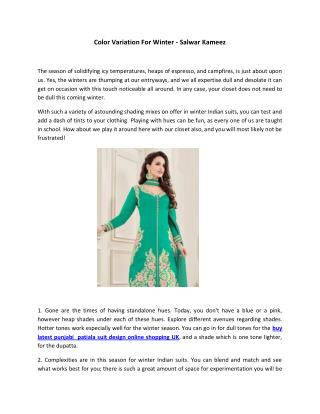 Color Variation For Winter - Salwar Kameez