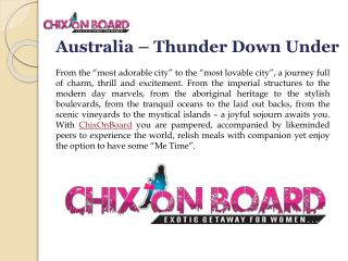 Australia Tours for Women,Women Only Tours,Chixonboard