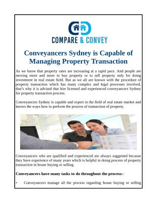Conveyancers Sydney is Capable of Managing Property Transaction