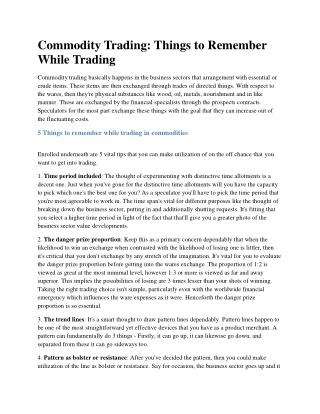 Things to Remember While Commodity Trading