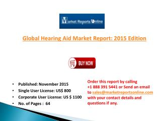 Hearing Aid Market Global Forecast to 2018 and Future Trends Analysis