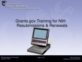 Grants Training for NIH Resubmissions  Renewals