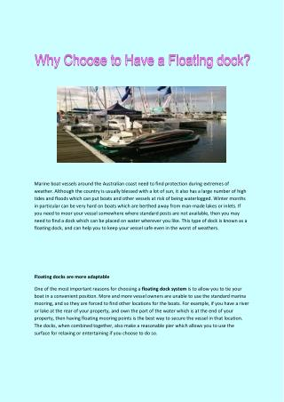 Why Choose To Have A Floating Dock?