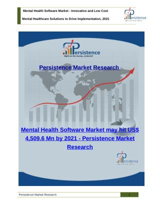 Mental Health Software Market - Size, Share, Trend, Analysis to 2021