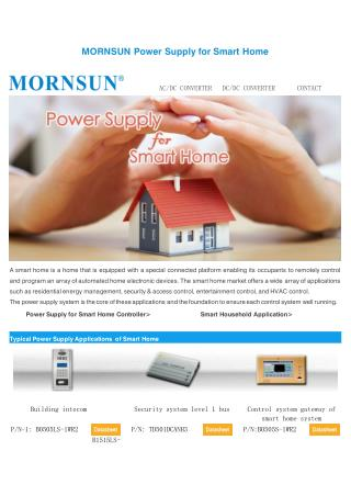 MORNSUN Power Supply for Smart Home