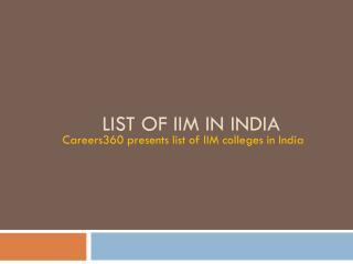 List of IIM in India