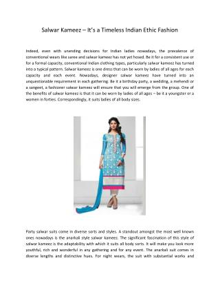 Salwar Kameez – It's a Timeless Indian Ethic Fashion