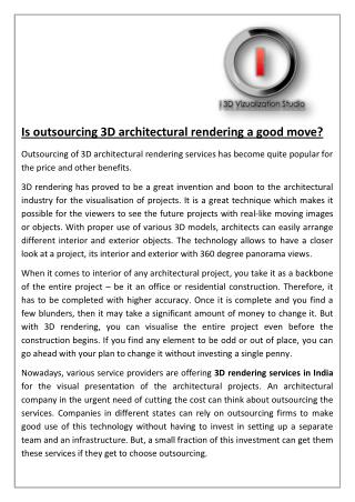 Is Outsourcing 3D Architectural Rendering A Good Move?