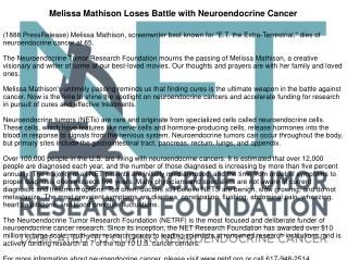 Melissa Mathison Loses Battle with Neuroendocrine Cancer