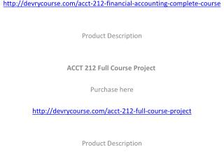 ACCT 212 Full Course Project
