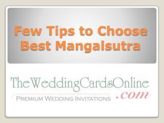 Consider Few Tips to Choose the Best Mangalsutra