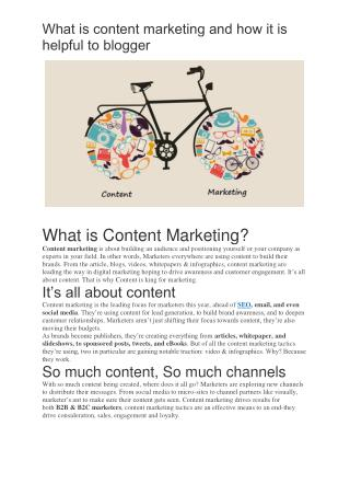 What is content marketing and how it is helpful to blogger