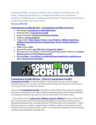 Commission Gorilla REVIEW - DEMO of Commission Gorilla