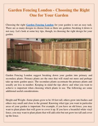Garden Fencing North London - Make Gardening Fast and Effortless