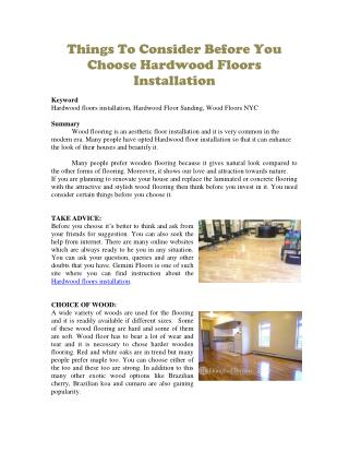 Things To Consider Before You Choose Hardwood Floors Installation