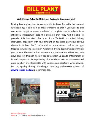 Well-Known Schools Of Driving Bolton Is Recommended