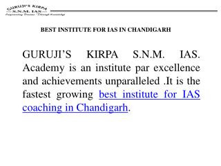 IAS Coaching In Chandigarh : SNM Academy