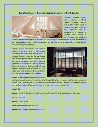 Complete Shutters Brings You Window Shutters in North London