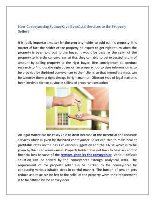 How Conveyancing Sydney Give Beneficial Services to the Property Seller?