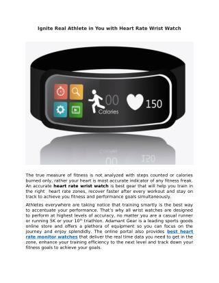 Ignite Real Athlete in You with Heart Rate Wrist Watch