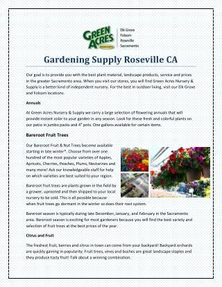 Gardening Supply Roseville CA
