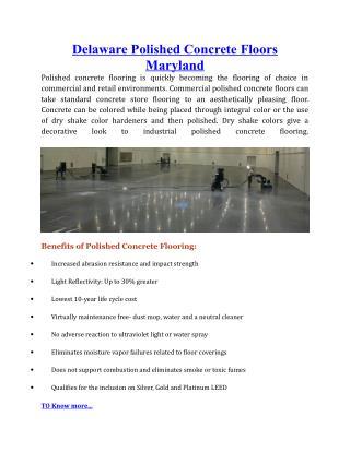 Delaware Polished Concrete Floors Maryland