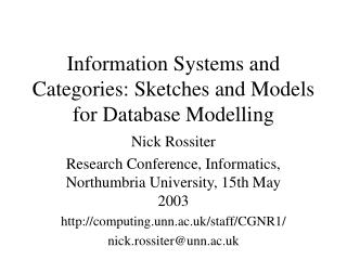 Information Systems and Categories: Sketches and Models for Database Modelling