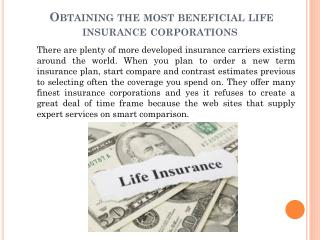 obtaining the most beneficial life insurance corporations.pptx