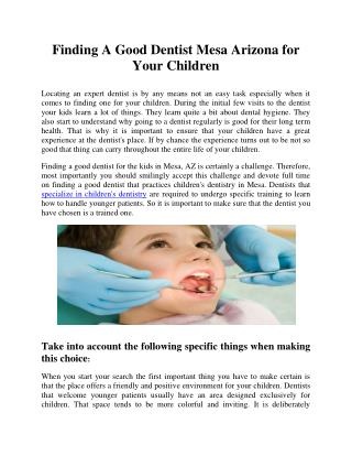 Finding A Good Dentist Mesa Arizona for Your Children