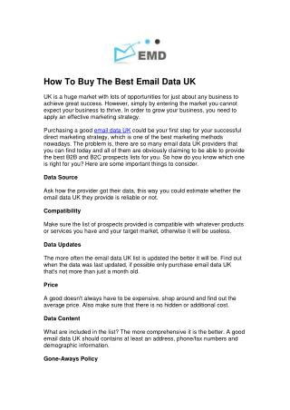 How To Buy The Best Email Data UK