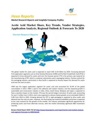 Acetic Acid Market Share, Key Trends, Vendor Strategies, Application Analysis, Regional Outlook & Forecasts To 2020
