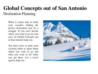 Global Concepts out of San Antonio - Destination Planning