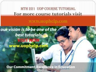 MTH 221 Academic Coach uophelp