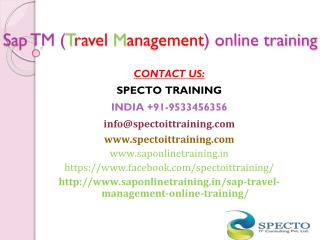 Sap TM (travel management) online training in usa