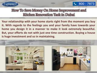 Save Money On Home Improvement and Kitchen Renovation Work in Dubai