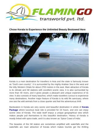 Chose Kerala to Experience the Unlimited Beauty Bestowed Here