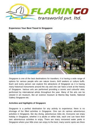 Experience Your Best Travel In Singapore