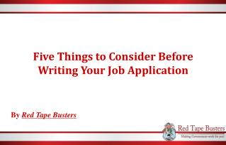 Five Things to Consider Before Writing Your Job Application