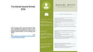 Functional resume format 2016