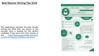 Best Resume Writing Tips 2016