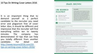 10 Tips On Writing Cover Letters 2016