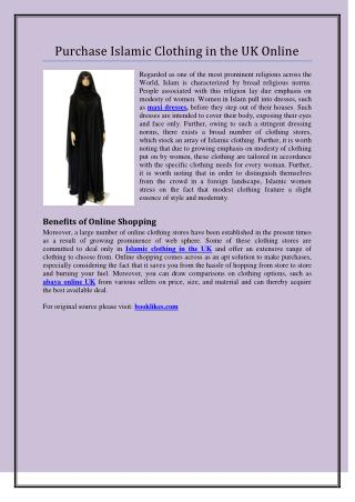 Purchase Islamic Clothing in the UK Online