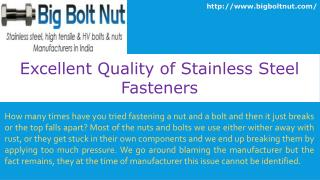 Excellent Quality of Stainless Steel Fasteners