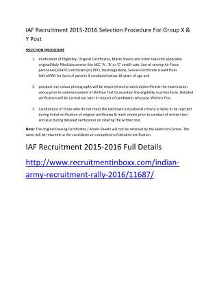 IAF Recruitment 2015-2016 Selection Procedure for Group X & Y Post