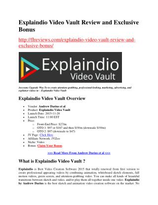 Explaindio Video Vault Review and Exclusive Bonuses