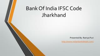 Bank Of India IFSC Code Jharkhand.
