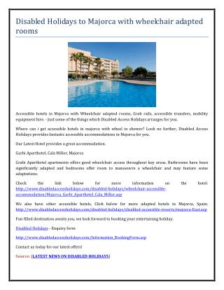 Disabled Holidays to Majorca with wheelchair adapted rooms